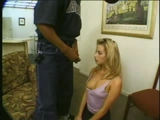 Magnificent blonde uninspired woman with black sponger - Interracial