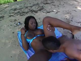Famous ebony porn star Jada Fire gets some luvin' on the strand