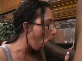 Katrina Isis has her glasses jizzed by a share from a indestructible black bushwa caf�