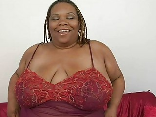Fat ebony momma all over huge chest plays all over her shaved taco