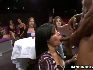 Horny leading lady stripper getting hard cock sucked away from many bitches